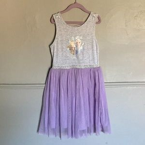 Disney Frozen Girls Gray and Purple Tulle Dress